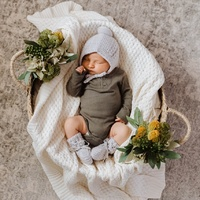 Merino Wool Bonnet & Booties Grey